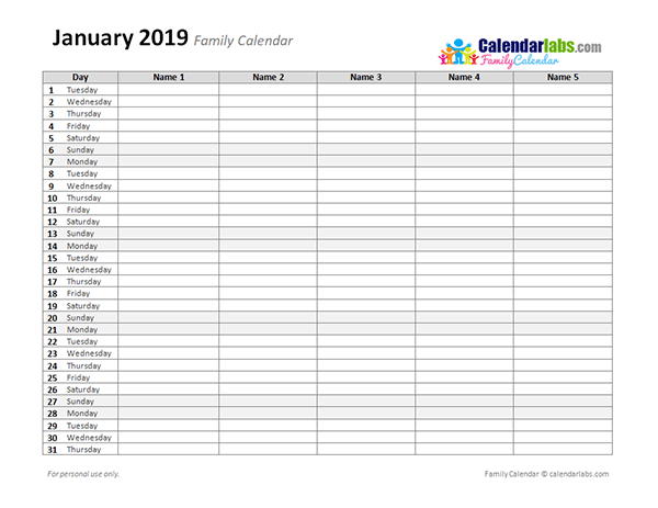 2019 and 2019 calendar printable word