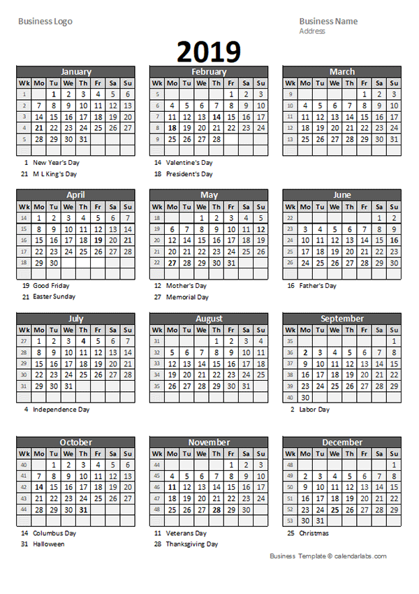 2019 calendar week numbers