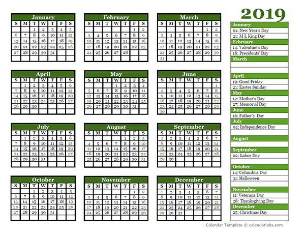 yearly school calendar template