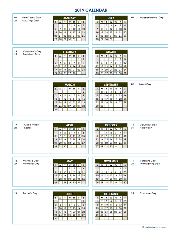 2019 Annual Calendar Vertical Template - Free Printable Templates