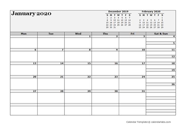 2020 Blank Three Month Calendar - Free Printable Templates