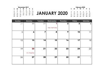 Printable 2020 Word Calendar Templates - CalendarLabs