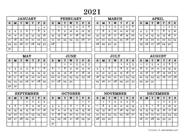 We tested the best photo calendar services so that you can pick the right company to trust with your memories. 2021 Blank Yearly Calendar Landscape - Free Printable ...