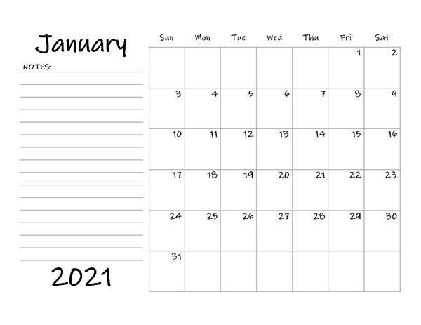 2021 printable monthly calendar january 2021 sun mon tues wed thurs fri sat 1 2 new year's day 3 4 5 6 7 8 9 10 11 12 13 14 15 16 17 18 19 20 21 22 23 Blank Calendar 2021 Template - Free Printable Blank ...