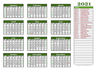 These free calendar templates are designed with families in mind. Printable 2021 Yearly Calendar Template Calendarlabs