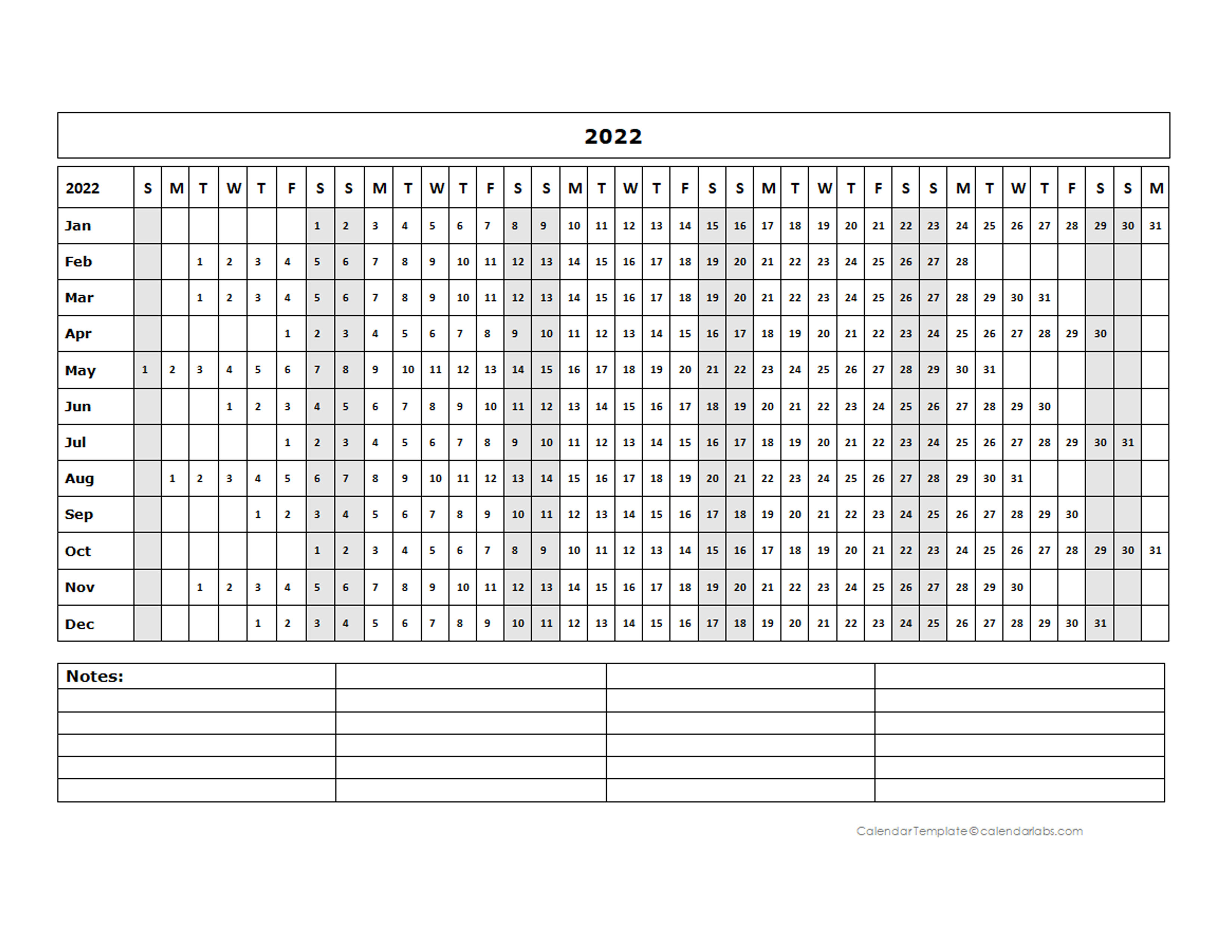 2022 Blank Landscape Yearly Calendar Template - Free ...