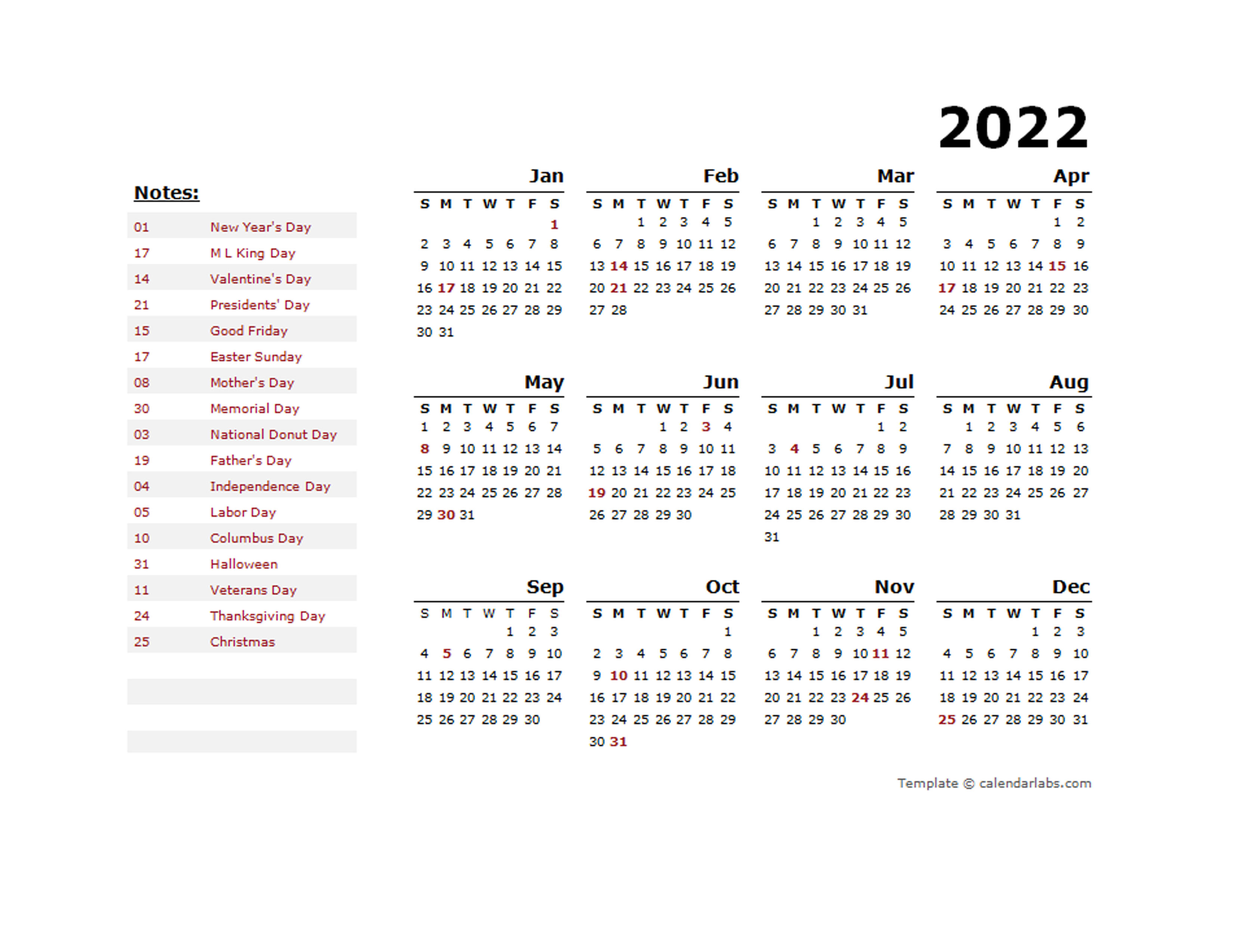 2022 Year Calendar Template with US Holidays - Free ...