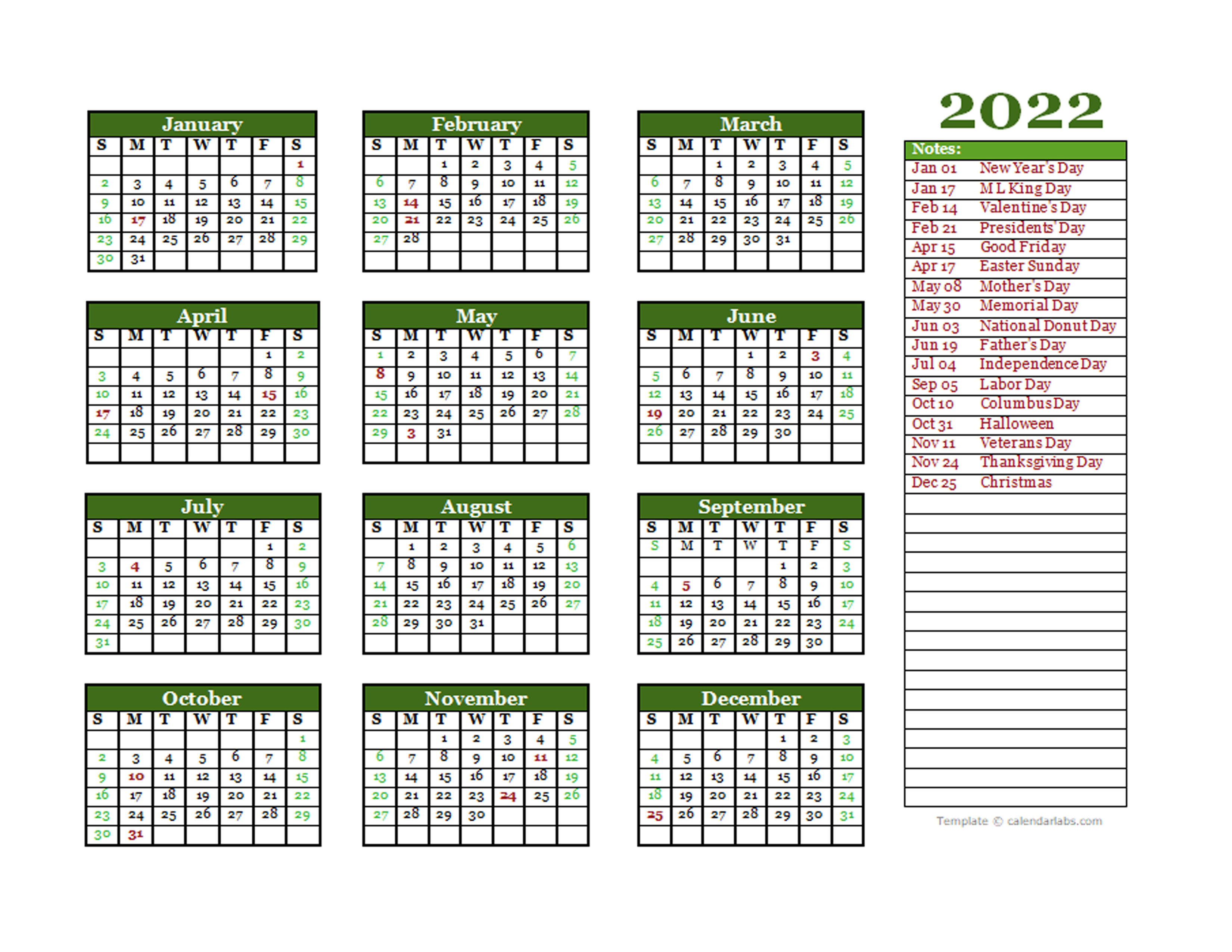 Editable 2022 Yearly Calendar Landscape - Free Printable ...