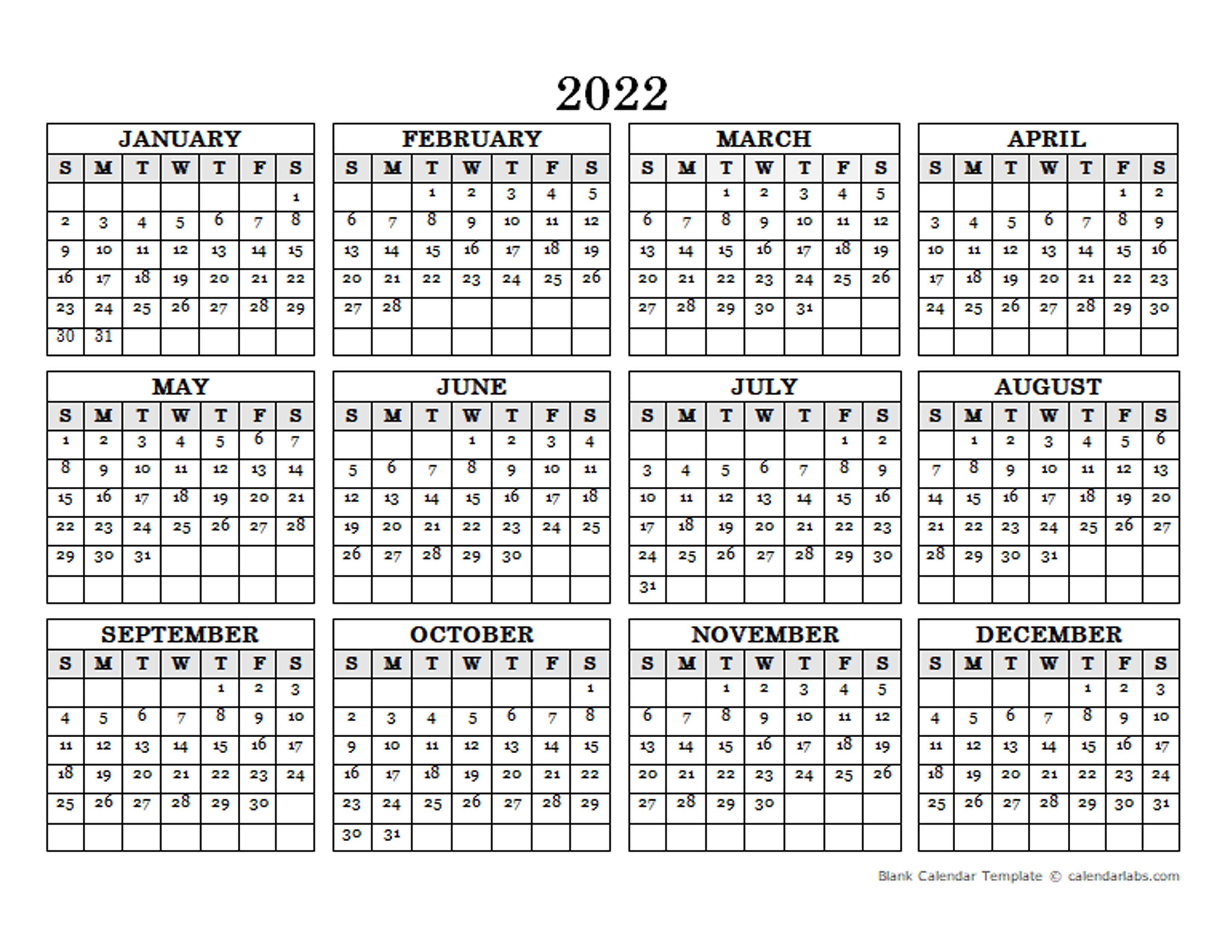 2022 Blank Yearly Calendar Landscape - Free Printable ...