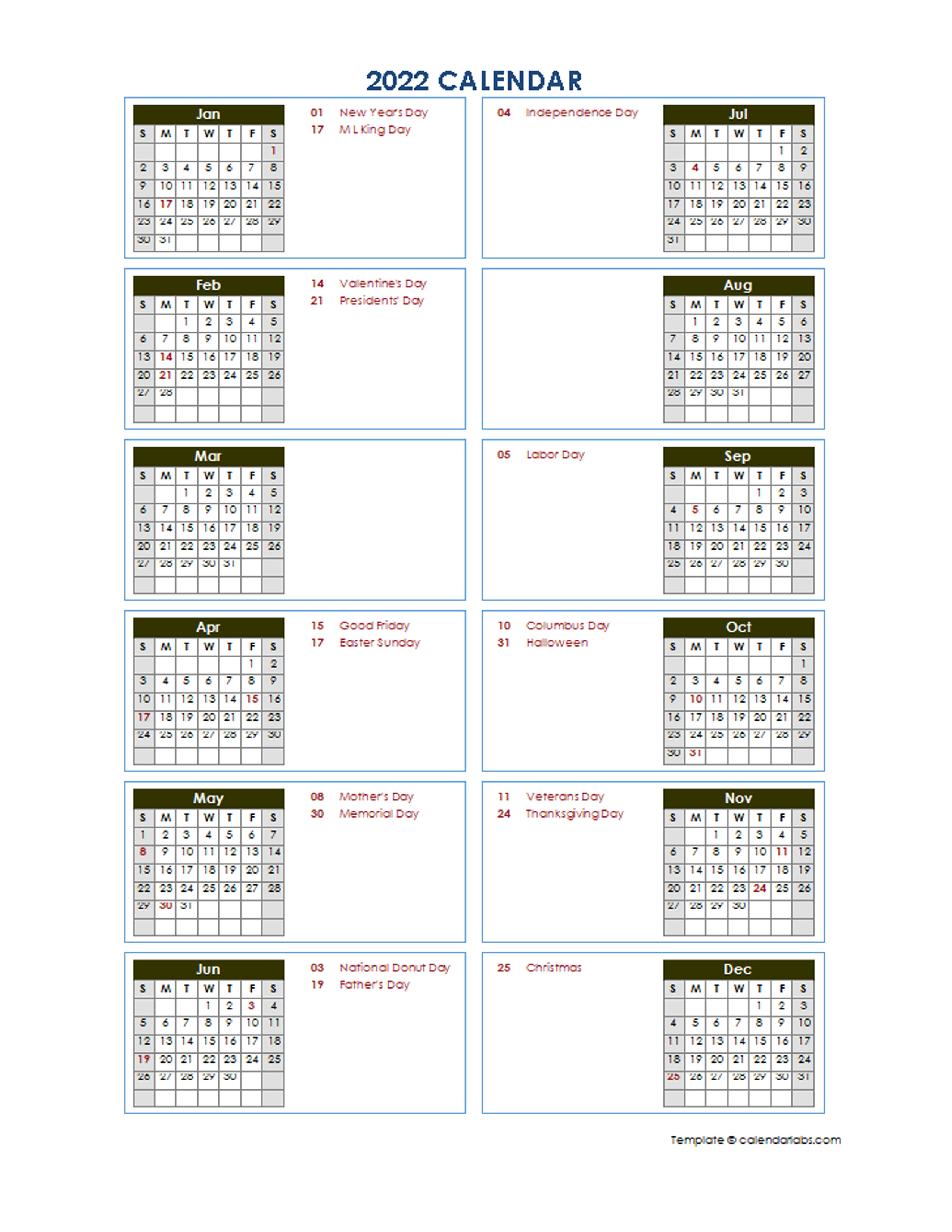 2022 Yearly Calendar Template Vertical Design - Free ...