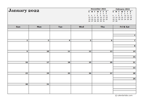 2022 Blank Three Month Calendar - Free Printable Templates