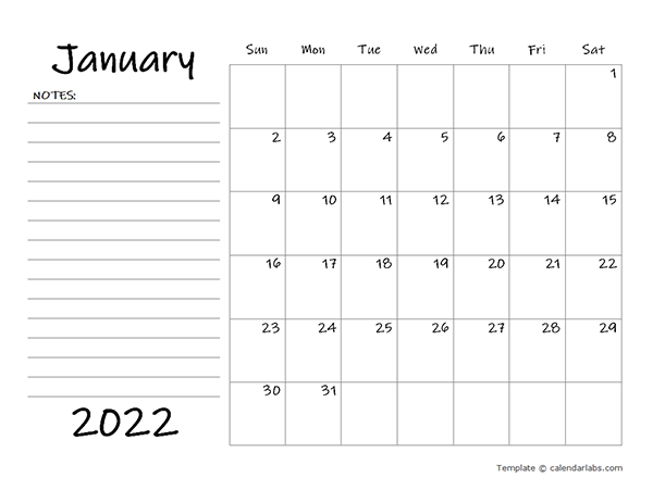2022 Blank Calendar Template with Notes - Free Printable ...
