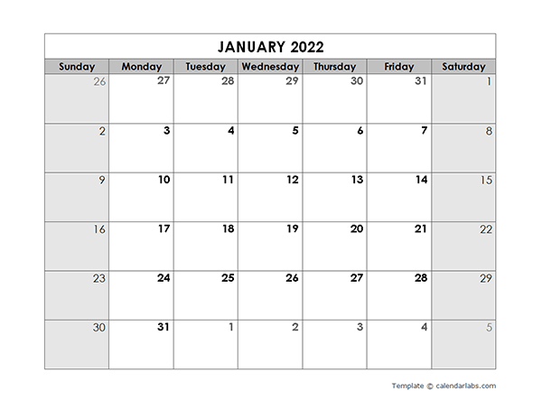 2022 Blank Monthly Calendar - Free Printable Templates