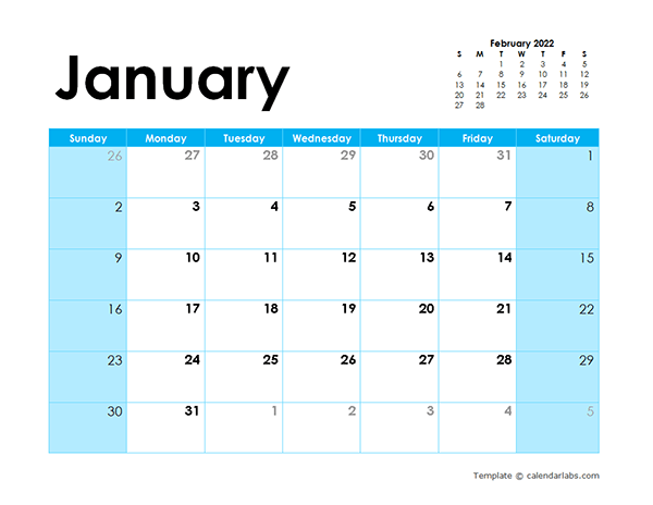 2022 Blank Calendar Colorful Design - Free Printable Templates