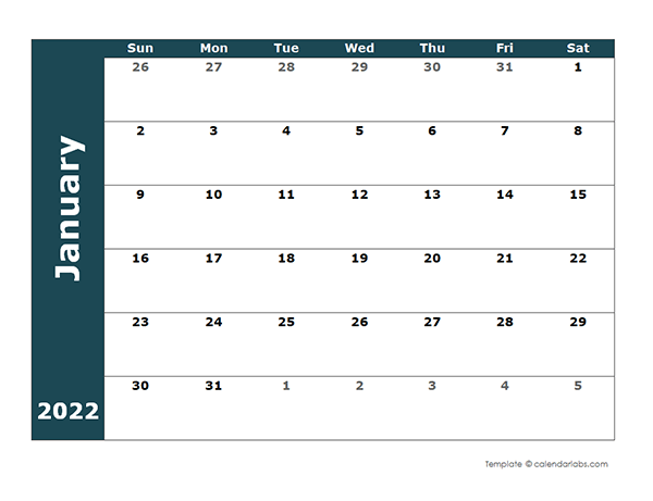 2022 Monthly Blank Calendar - Free Printable Templates