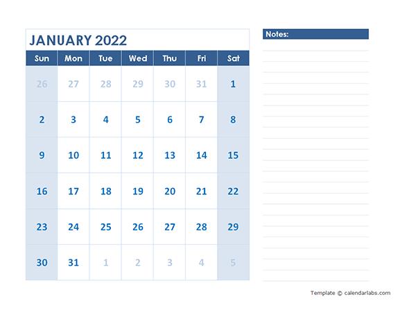 2022 Blank Printable Calendar - Free Printable Templates
