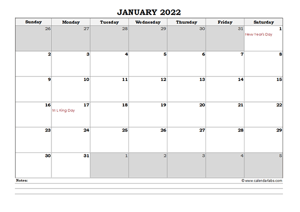 2022 Excel Monthly Calendar with Notes - Free Printable ...