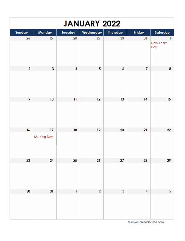 2022 Excel Monthly Calendar Template - Free Printable ...