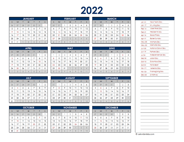 2022 Excel Yearly Calendar - Free Printable Templates