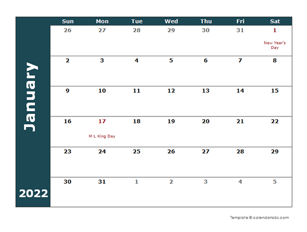 2022 Monthly Calendar Template - Free Printable Templates