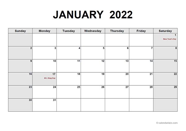 2022 Monthly Calendar PDF - Free Printable Templates