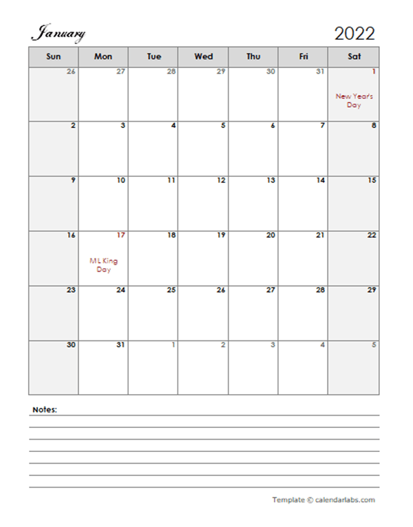 2022 Calendar Template Large Boxes - Free Printable Templates