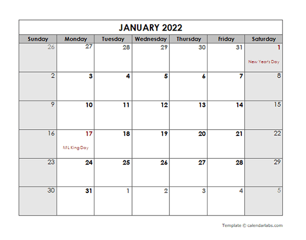 2022 Monthly Calendar with US Holidays - Free Printable ...