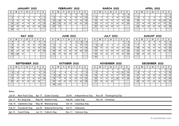 2022 PDF Yearly Calendar With Holidays - Free Printable ...