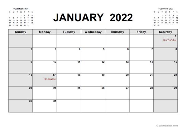 2022 Printable Calendar PDF - Free Printable Templates