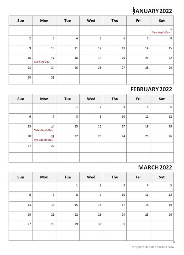 2022 Three Month Calendar Template - Free Printable Templates