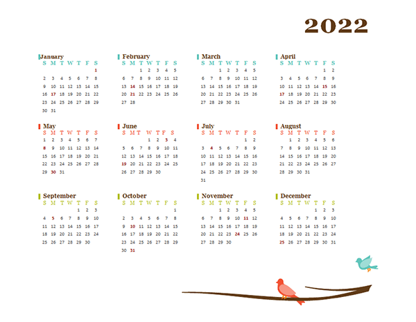 2022 Blank Yearly Calendar Bird Template - Free Printable ...