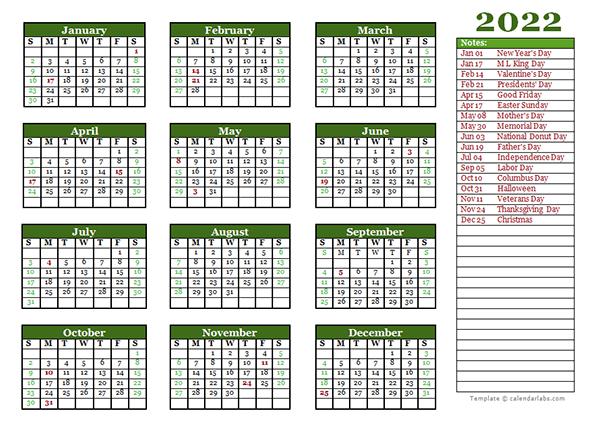 Editable 2022 Yearly Calendar Landscape - Free Printable ...