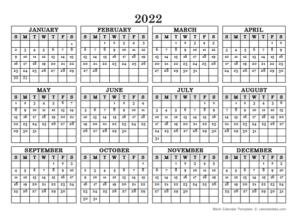 2022 Blank Yearly Calendar Landscape - Free Printable ...