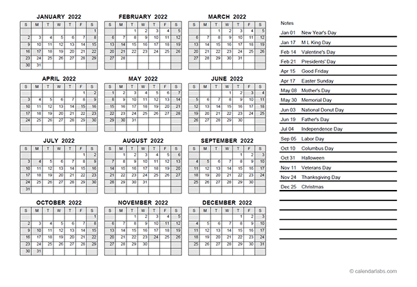 2022 Yearly Calendar PDF - Free Printable Templates