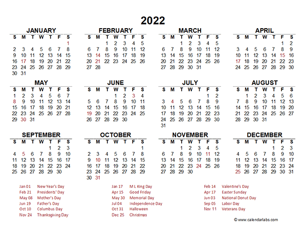 2022 Yearly Calendar Template Excel - Free Printable Templates