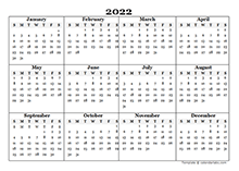 Printable 2022 Yearly Calendar Template - CalendarLabs