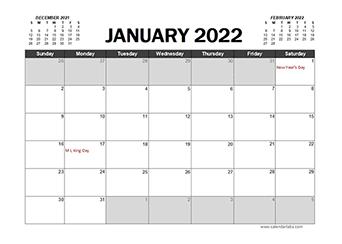 Printable 2022 Excel Calendar Templates - CalendarLabs