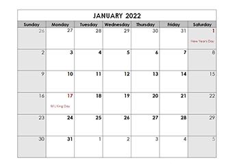 Printable 2022 Monthly Calendar Templates - CalendarLabs