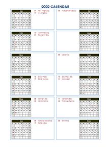 Printable 2022 Yearly Calendar Template - CalendarLabs