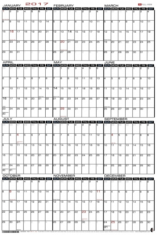 Vertical Yearly 2014 Printable Calendars