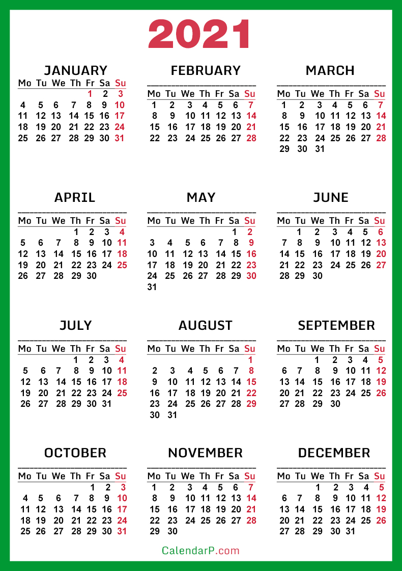 Whether for personal or business use, the best calendar app can become an essential tool, integrating with business software on top of providing reminders. 2021 Calendar, Printable Free, Green - Monday Start ...