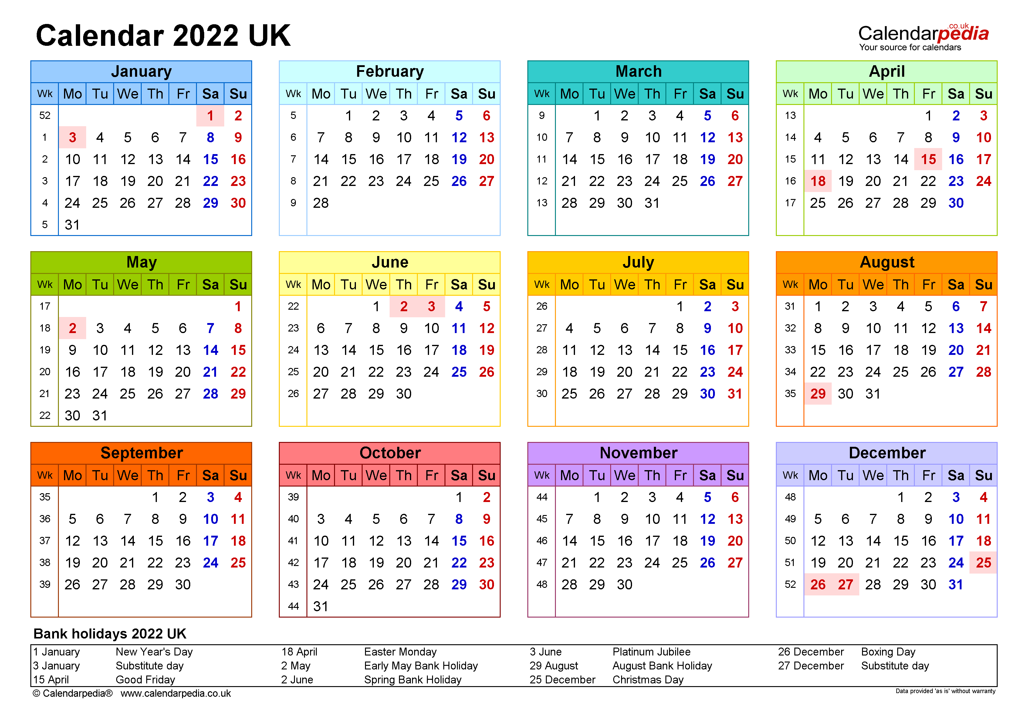 Calendar 2022 (UK) - free printable PDF templates
