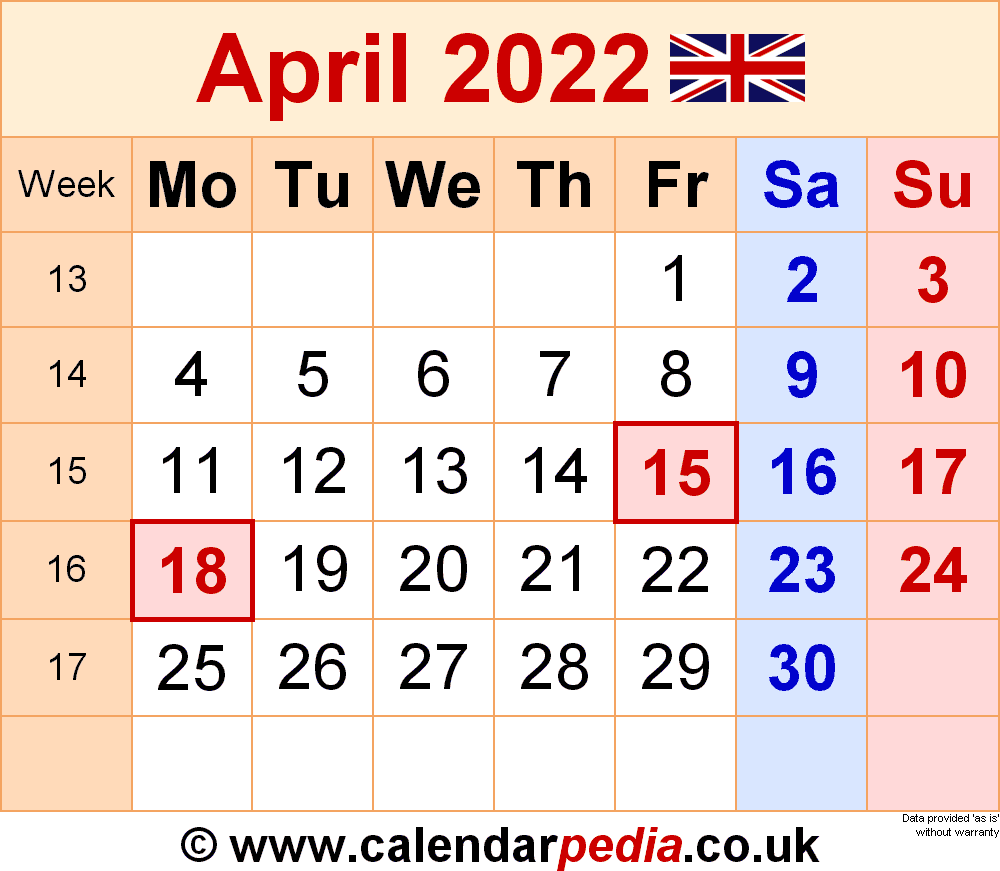 Calendar April 2022 UK with Excel, Word and PDF templates