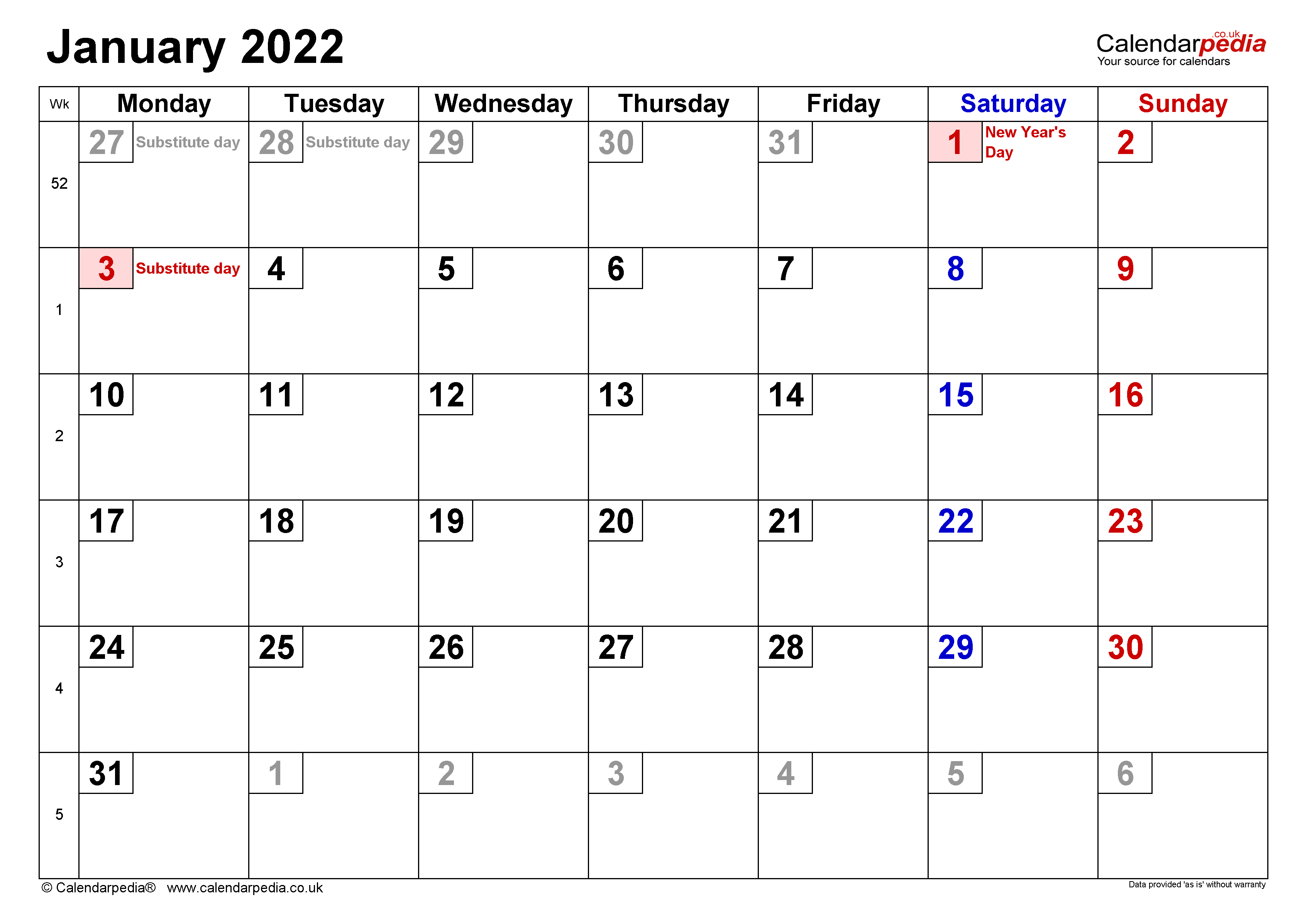 Calendar January 2022 (UK) with Excel, Word and PDF templates