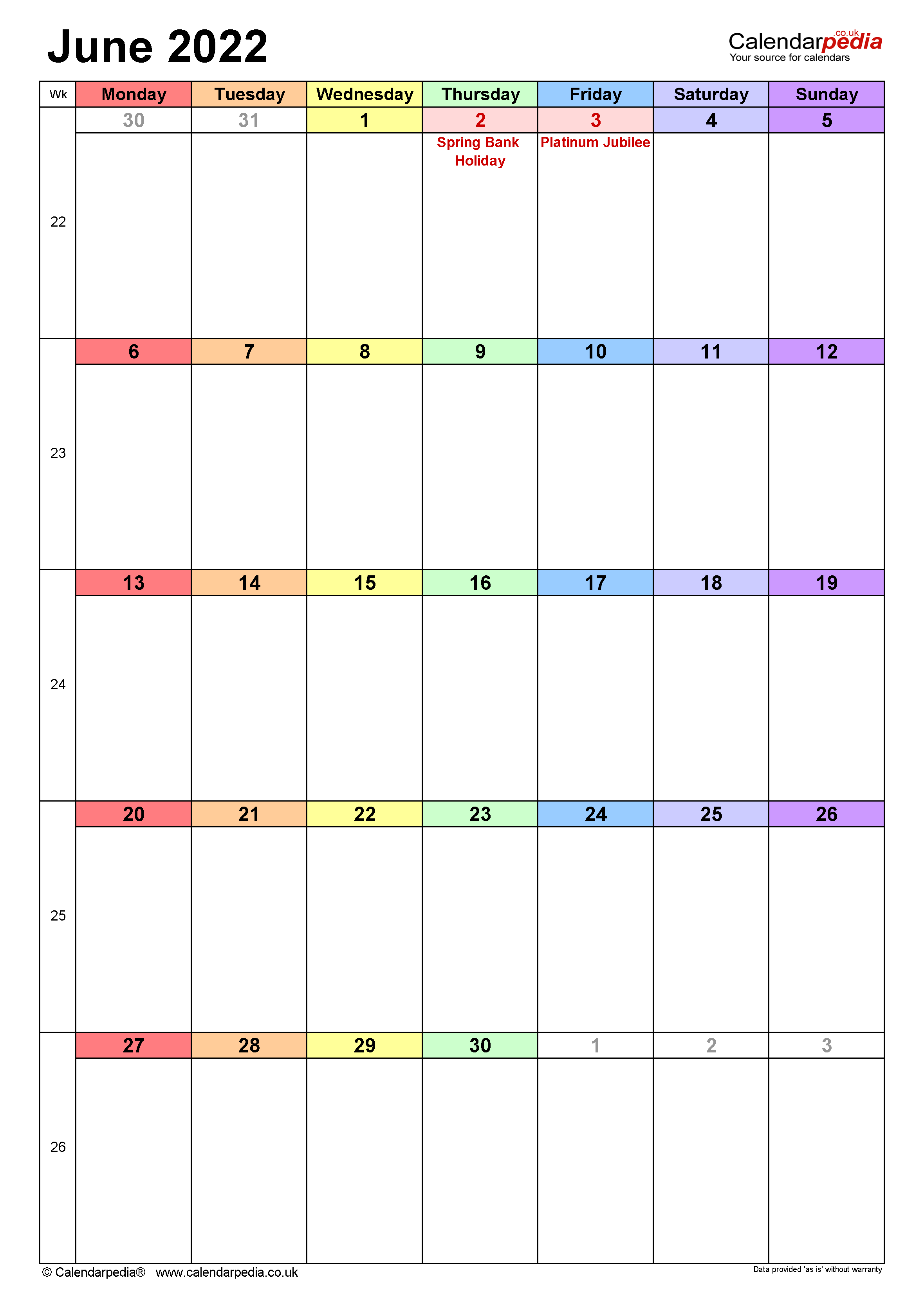 Calendar June 2022 UK with Excel, Word and PDF templates