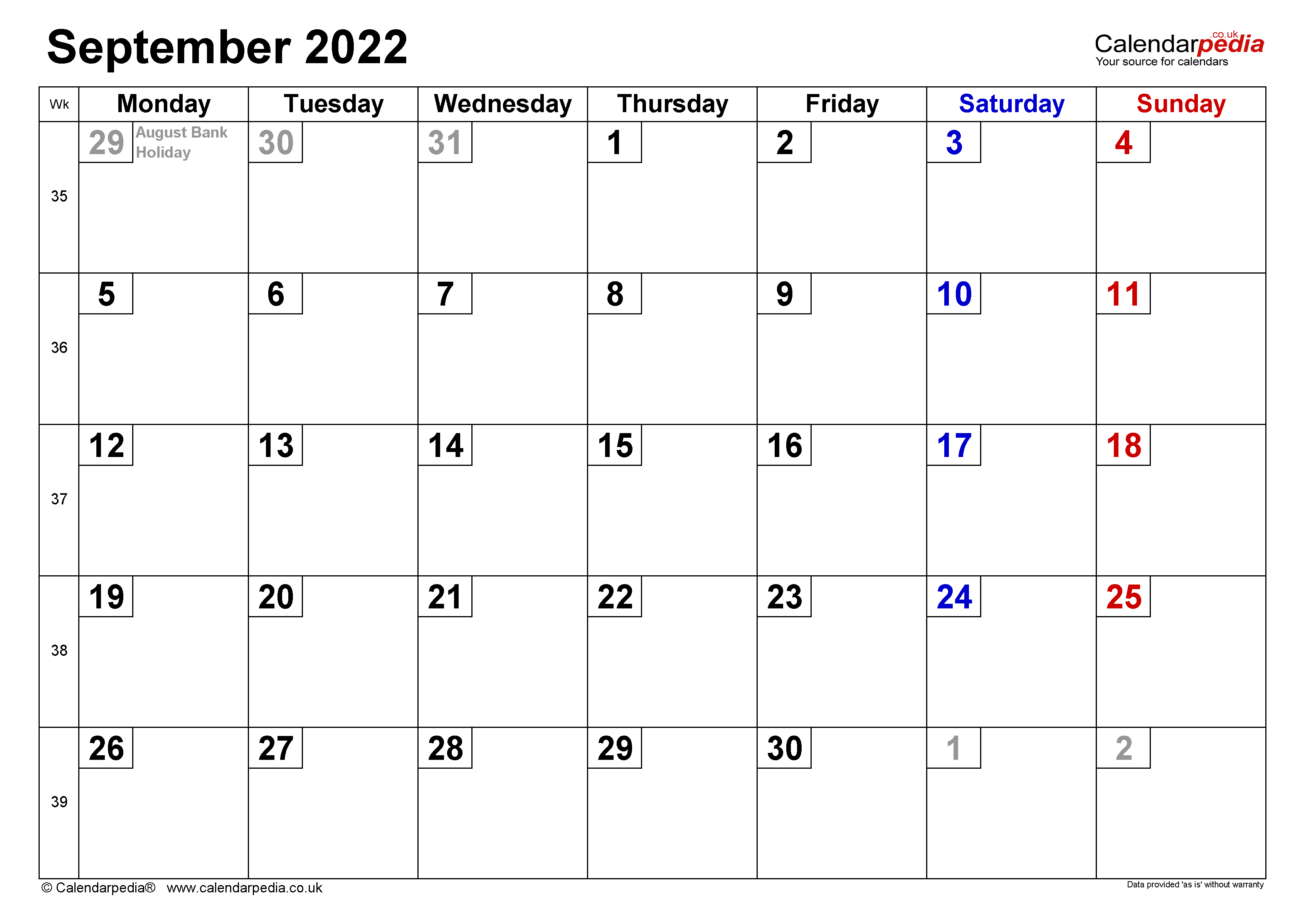 Calendar September 2022 UK with Excel, Word and PDF templates