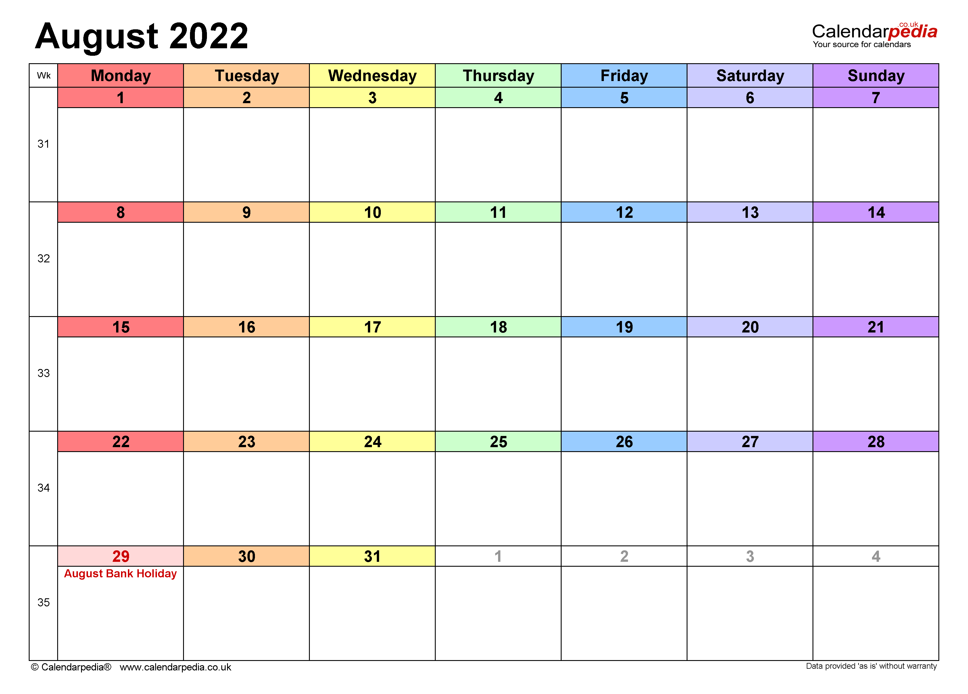 Calendar August 2022 UK with Excel, Word and PDF templates