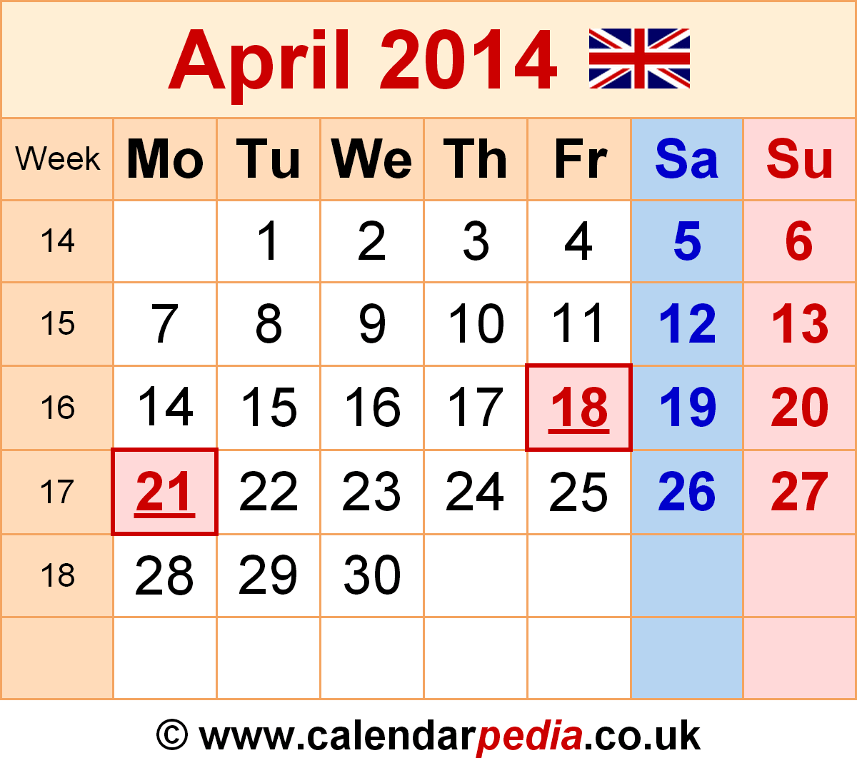 Calendar April Uk With Excel Word And Templates