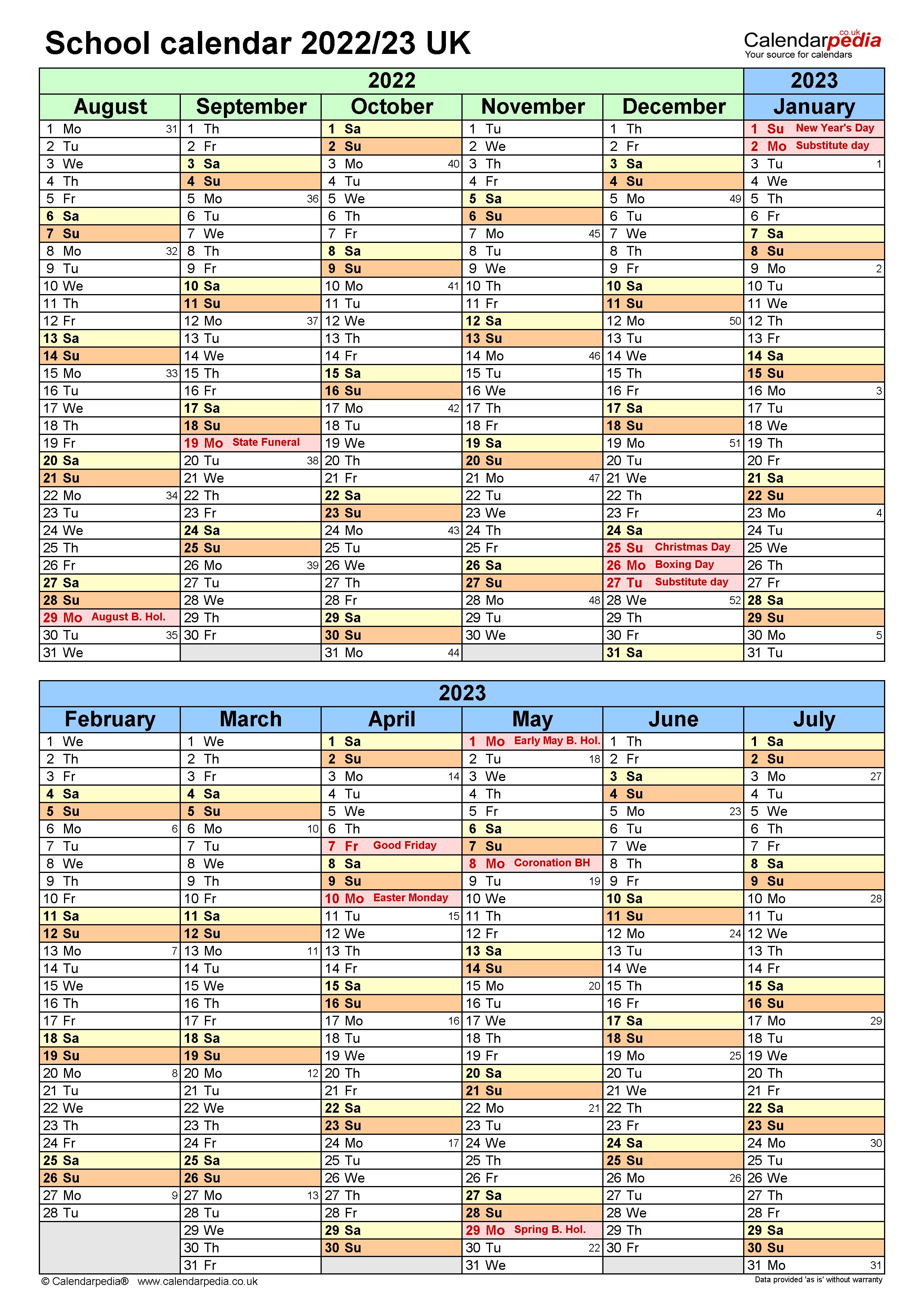 School calendars 2022/2023 as free printable Word templates