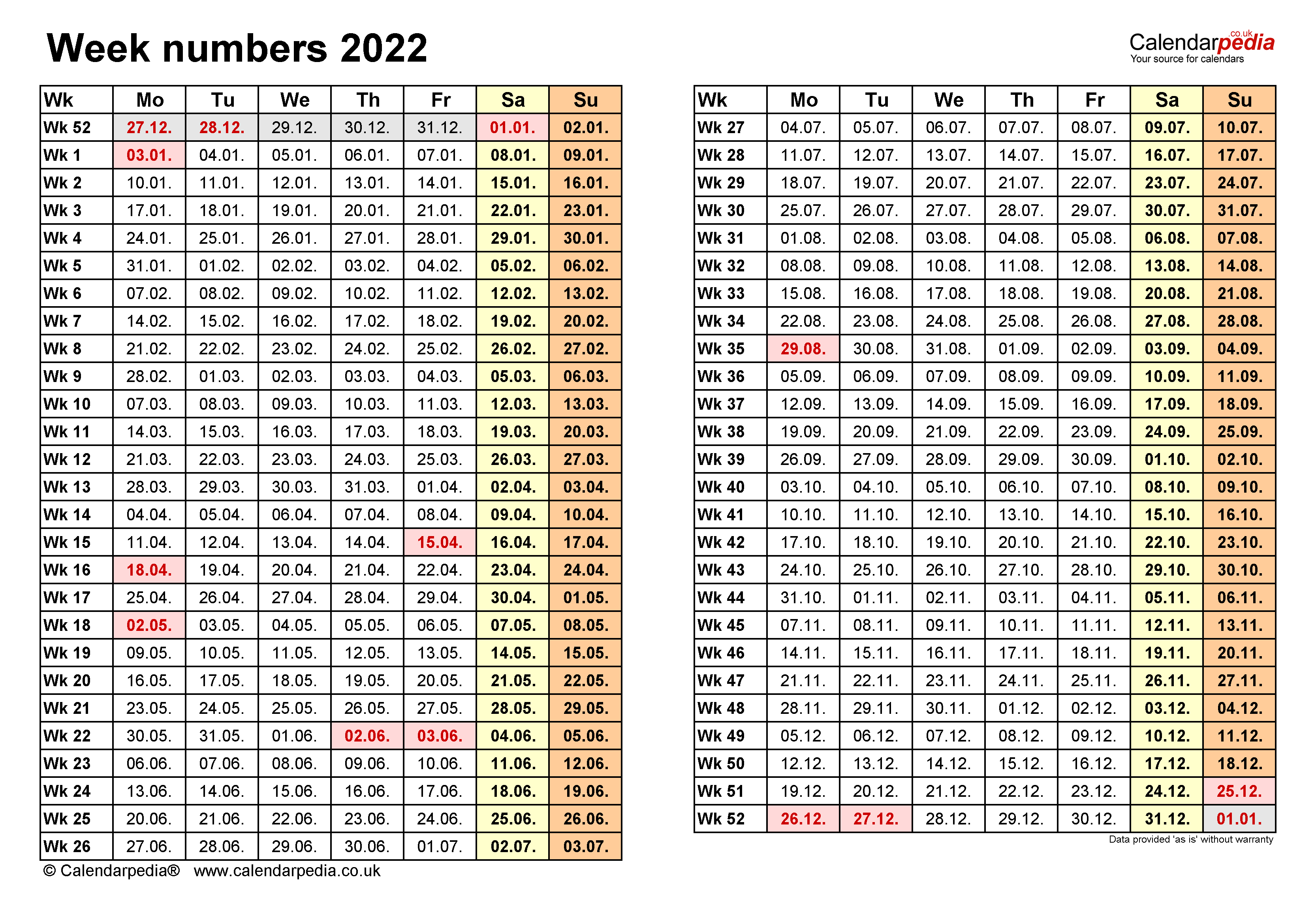 Week numbers 2022 with Excel, Word and PDF templates